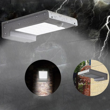 49-LED White Light Solar Wall Lamp with Human Body Sensor & Light Control & Slightly Bright Black