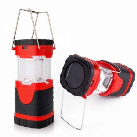 Solar Rechargeable Waterproof Collapsible LED Lantern with Compass Red