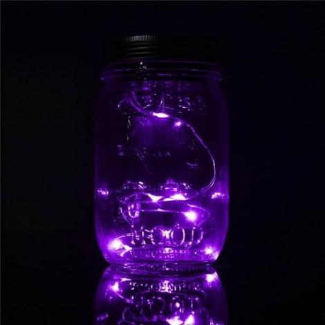 Solar Power Hanging Glass Jar Lamp 8-LED Beads Garden Courtyard Landscape Decor Light Purple