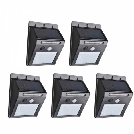 5PCS 25 LED Solar Powered PIR Motion Sensor Light Outdoor Garden Security Wall Light