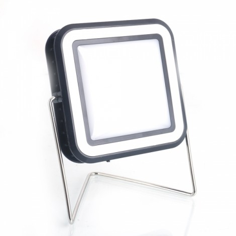 30-LED Outdoor Portable Solar Lantern USB Rechargeable Camping Light with Stand White & Black