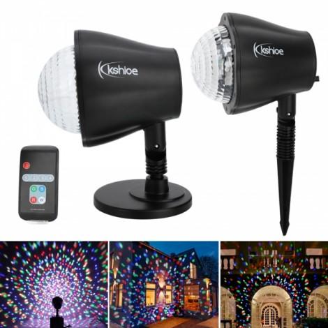 Kshioe LED Christmas Decoration Landscape Lawn Lamp US Plug RGBW Light