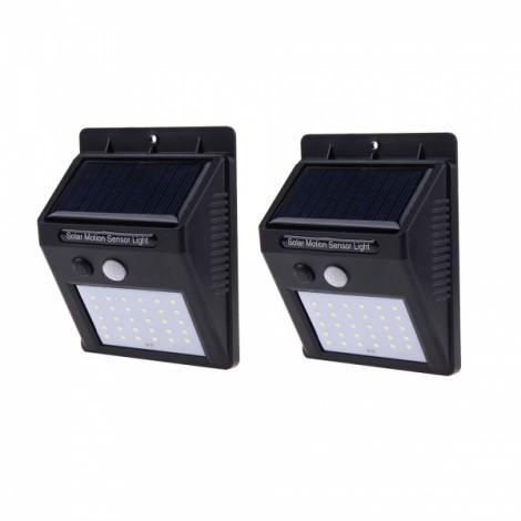 2PCS 30 LED Solar Powered Panel Motion Sensor Outdoor Garden Wall Light Black