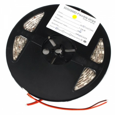 36W SMD5050 5m 300LEDs Orange Yellow Light Epoxy Waterproof LED Light Strip (White Lamp Plate) (12V)