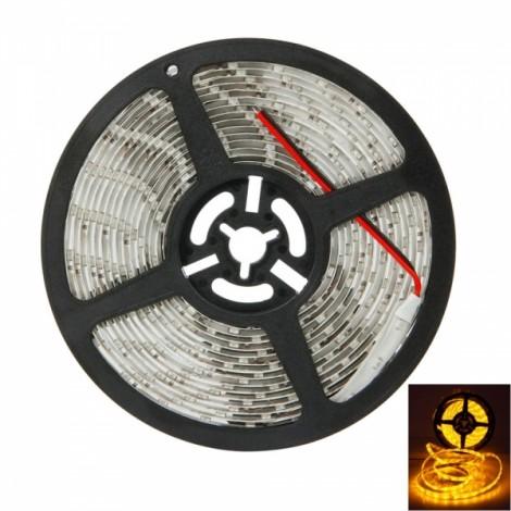 25W SMD3528 5m 300LEDs Orange Yellow Light Epoxy Waterproof LED Light Strip (White Lamp Plate) (12V)
