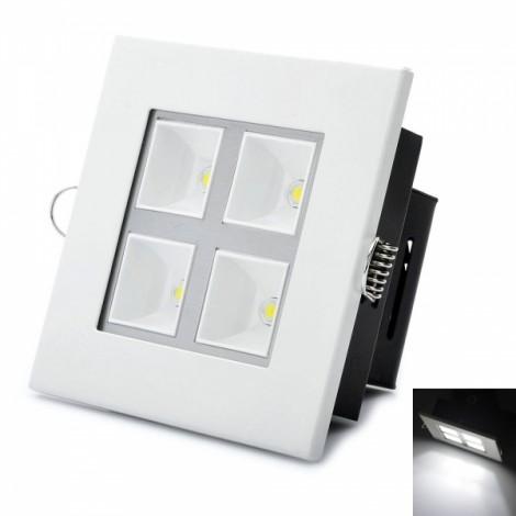Square Shape 4W 6000K 380LM 4-LED White Light Panel White & Black (AC 89~265V)