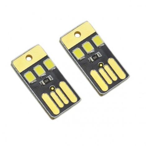 2pcs Ultrathin 0.2W 25lm 3-LED White Light USB Night Lamps Black