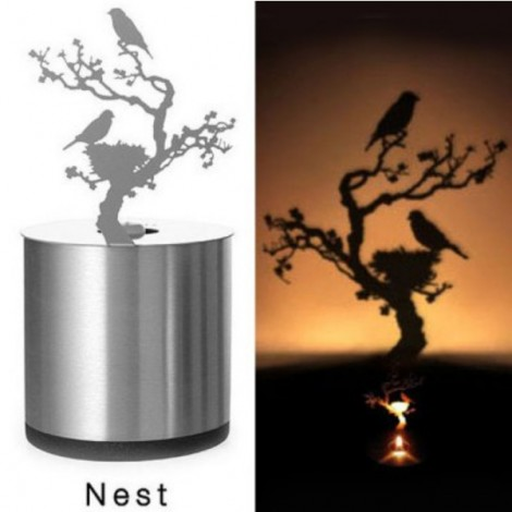 Creative Nest Pattern LED Shadow Candle Light Projector Lamp Silver