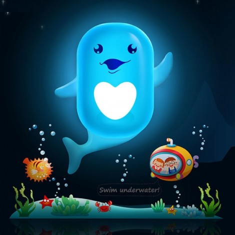 Bedroom Decor Wall Sticker Creative Light Control LED Night Light Lamp Dolphin Pattern
