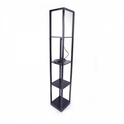 Kshioe Simple Modern Living Room Bedroom 4-Tier Storage Rack Wooden Floor Lamp (Bulb Not Included) US Plug Black