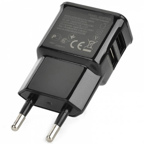 Dual USB Outputs Electronic Plating Color Printing AC Charger Adapter Black