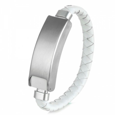 USB 2.0 to Micro USB 5-Pin Knitted PU Leather + Stainless Steel Bracelet Style Charging & Data Sync Cable White