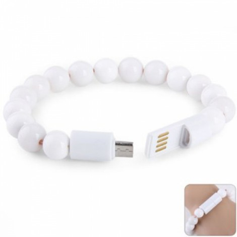 Creative Bracelet Design Portable Micro USB Charging and Sync Cable White