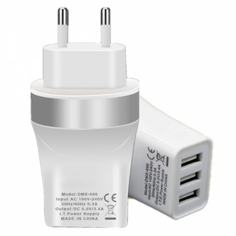 Universal EU Plug 3-Port USB 5V 3.4A Power Adapter Charger for Smart Phones Silver & White