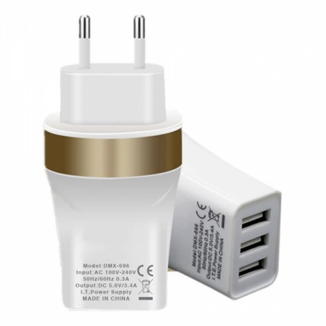 EU Plug 3-Port USB 5V 3.4A Power Adapter Charger for Smart Phones White (100-240V)