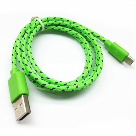 1m Universal Micro USB Android V8 Nylon Braided Data Cable Green