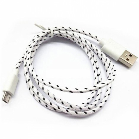 1m Universal Micro USB Android V8 Nylon Braided Data Cable White