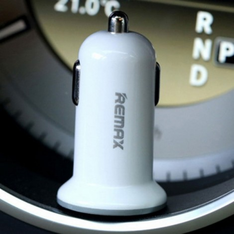 REMAX CC10 Mini Dual USB Ports Fast Charging Car Charger Adapter White