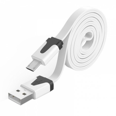 1M Noodle Flat Wire Data Line V8 for Android Phone White