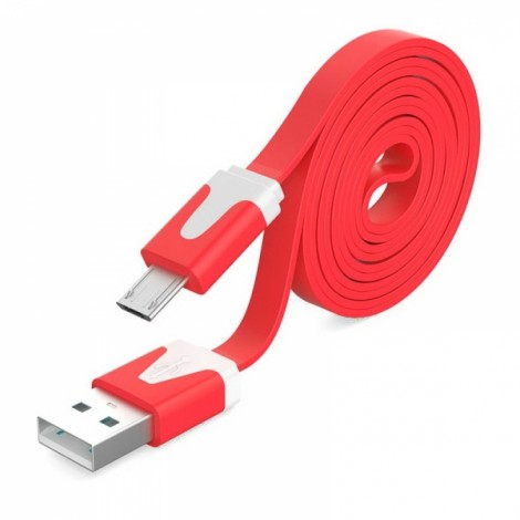 2M Noodle Flat Wire Data Line V8 for Android Phone Red