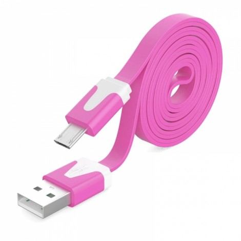 1M Noodle Flat Wire Data Line V8 for Android Phone Rose Red