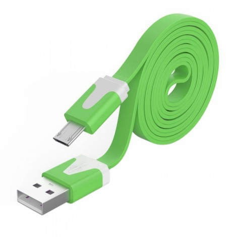 2M Noodle Flat Wire Data Line V8 for Android Phone Green