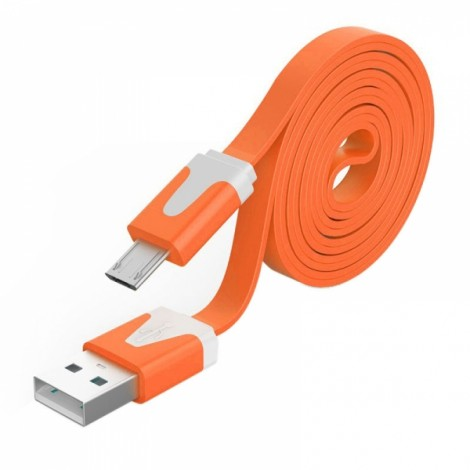 3M Noodle Flat Wire Data Line V8 for Android Phone Orange