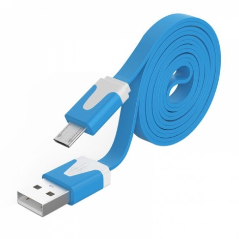 2M Noodle Flat Wire Data Line V8 for Android Phone Sky Blue