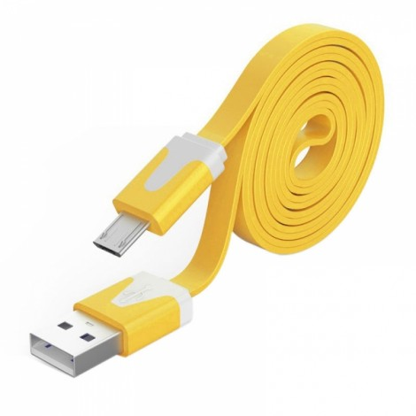2M Noodle Flat Wire Data Line V8 for Android Phone Yellow