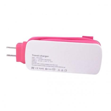 Universal 4 USB Ports 4A International Socket Travel Charger Socket US Plug Pink