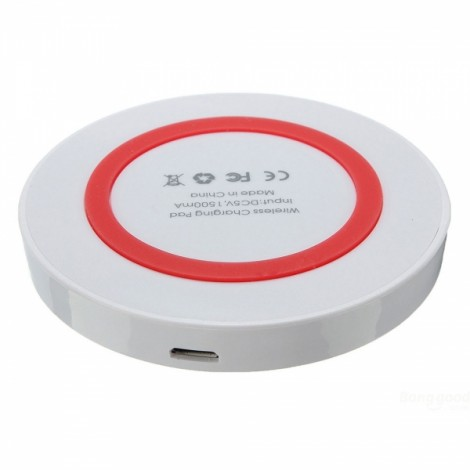 Q5 Qi Standard Mini Wireless Charger Pad Transmitter for Android iOS White & Red