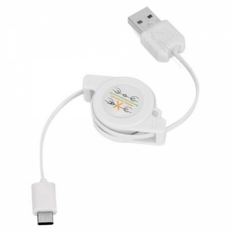 USB 3.1 Type C to USB 2.0 Retractable Data Sync & Charging Cable White