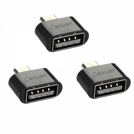 3pcs Micro USB Male to USB Female OTG Adapter for Android Smartphone/MID Black