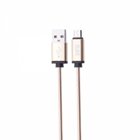TLIFE 1m Stainless Steel Covered USB Charging Data Sync Micro USB Cable for Android Devices Golden