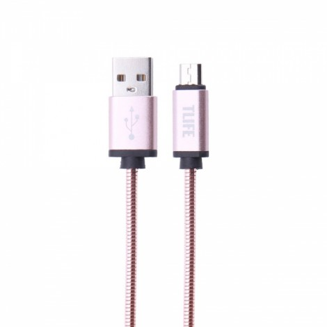 TLIFE 1m Stainless Steel Covered USB Charging Data Sync Micro USB Cable for Android Devices Rose Golden