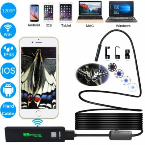 1200P Waterproof IP68 8mm WiFi Endoscope Camera for PC Android iOS - 5M