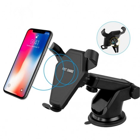 Qi Wireless Car Charger Air Vent Holder With Suction Cup For iPhone X 8 Plus Samsung S8 Note 8
