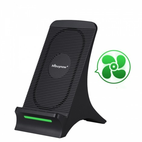 Fan Heat Dissipation Qi Wireless Charging Stand Wireless Charger for iPhone / Samsung