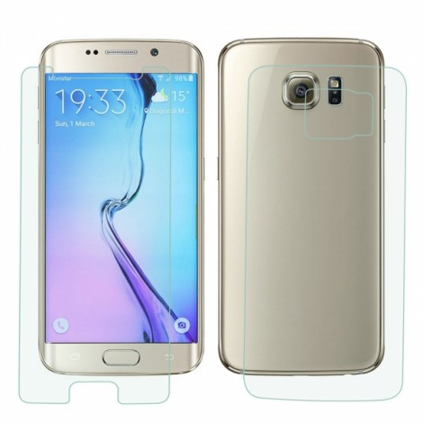 Protective Tempered Glass Screen + Back Protector Set for Samsung Galaxy S6 Edge Transparent