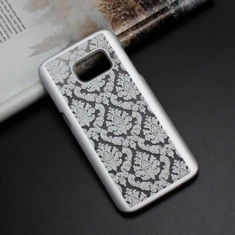 Retro Engraved Pattern Matte PC Back Case Cover for Samsung Galaxy S6 Edge Silver