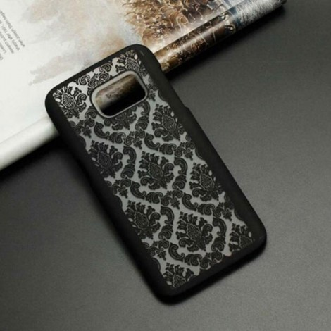 Retro Engraved Pattern Matte PC Back Case Cover for Samsung Galaxy S6 Edge Plus Black