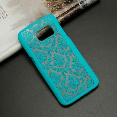 Matte PC Back Case Cover for Samsung Galaxy S7 Edge Green (Retro Engraved Pattern)