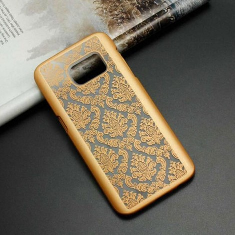 Matte PC Back Case Cover for Samsung Galaxy S7 Edge Golden (Retro Engraved Pattern)