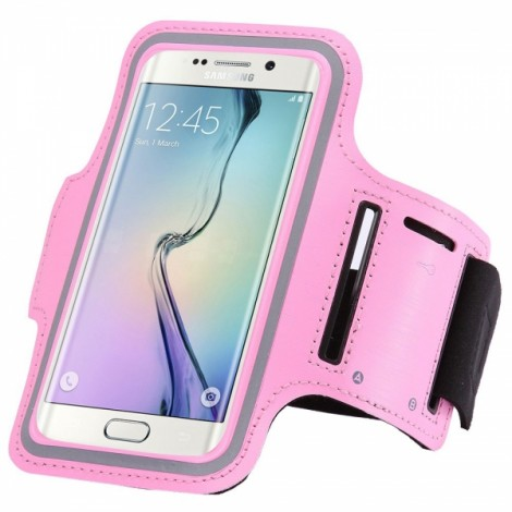 Sports Gym Running Armband Pouch Case Cover Bag for Samsung Galaxy S6 Edge Plus Pink