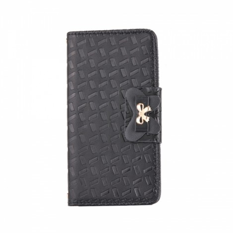 Embossed with a Butterfly Buckle Combo Holster Leather Case for Samsung S6 Black