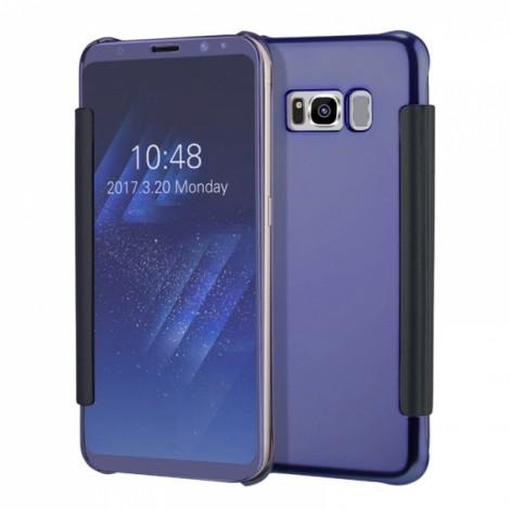 Electroplating Acrylic Mirror PC Smart Sleep Flip Full Body Case for Samsung Galaxy S8 Dark Blue