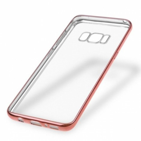 Soft TPU Plating Frame Ultra-thin Transparent Shockproof Cover Case for Samsung Galaxy S8 - Rose Gold