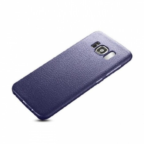 Soft TPU Silicone Ultra-thin Shockproof Leather Skin Back Cover Case for Samsung Galaxy S8 Plus - Navy Blue