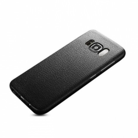 Soft TPU Silicone Ultra-thin Shockproof Leather Skin Back Cover Case for Samsung Galaxy S8 - Black