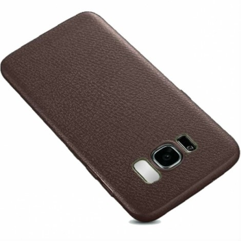 Soft TPU Silicone Ultra-thin Shockproof Leather Skin Back Cover Case for Samsung Galaxy S8 - Brown